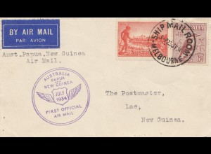 Australia 1934: By Ship Mail: Melbourne to Lac - First official Mail