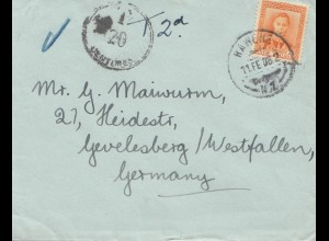 New Zealand: 1908: Rawene to Germany - Taxe