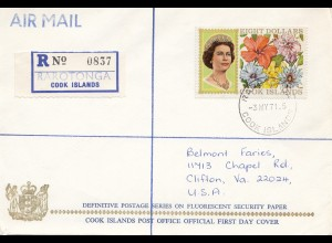 Cook Islands, Registered to USA, 1971 from Rarotonga
