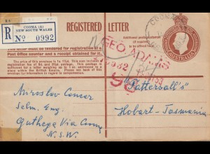 Australia 1953 Registered letter Cooma to Tasmania