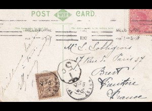 Australia 1909: Post card Melbourne/Victoria to Brest-France with Taxe stamp