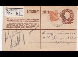 Australia 1956: Registered letter Kingsford to Sydney