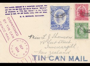 Tonga: 1934: Tin can Mail - Niuafoou to New Zealand