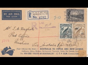 Australia 1934: Air Mail registered Melourne to Sunshine - a lot cancels reverse