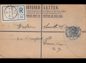 New Zealand- 1910: Registered letter Awanui - Aukland /Dunedin