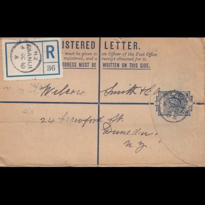 New Zealand- 1910: Registered letter Awanui - Aukland /Dunedin
