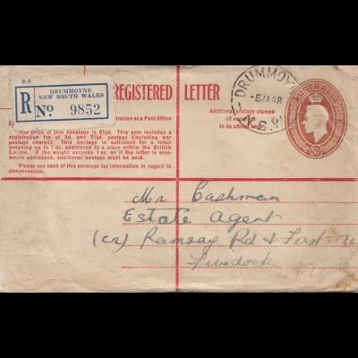 Australia: 1954: Registered letter Drummoyne