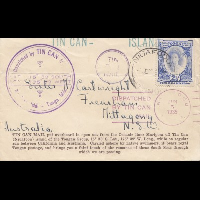 Tonga 1935: Tin Can to Australia
