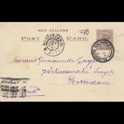 New Zealand: 1901: Post card Palmerston to Rotterdam/NL