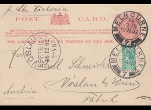 Australia 1902: Postcard Melbourne to Austria - Wien