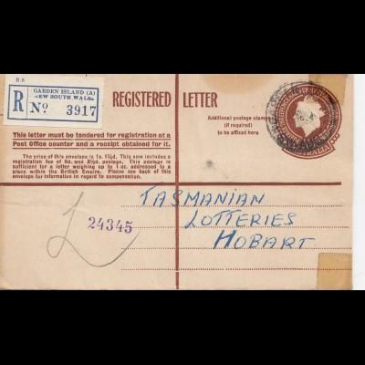 Australia 1954: Registered letter Garden Island to Hobart - Tasmania