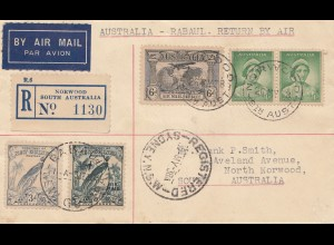 Australia 1938: Australia - Rabaul Return by Air - Norwood registered