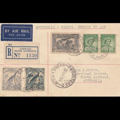 Australia 1938: Australia - Rabaul Return by Air - Norwood registered