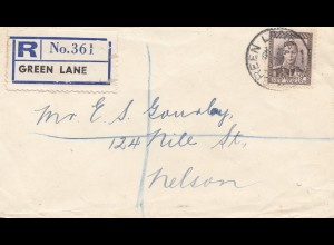 New Zealand 1938: Registered Green Lane to Nelson