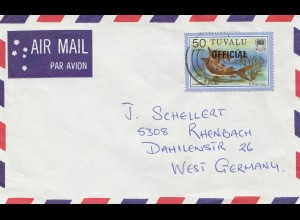 Tuzvalu - Official to Germany via Air Mail