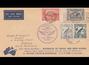Australia: 1934: First official Air Mail Australia - New Guinea to Tusmore