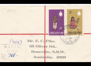 Gilbert & Ellice Islands 1969: Registered Beru to Australia