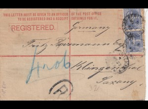 Australia 1893: Registerd letter to Germany/Klingenthal