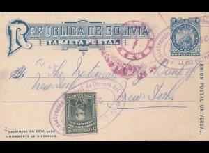 Bolivia/Bolivien: 1914 Post card La Pax to USA