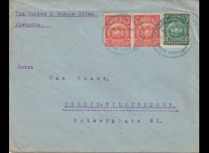 Bolivia/Bolivien: 1921 Cochabamba via Buenos Aires to Germany/Berlin