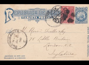 Bolivia/Bolivien: Sucre Post card 1900 to England