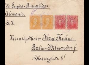 Bolivia/Bolivien: Cochabamba via Buenos Aires to Berlin 1914