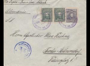 Bolivia/Bolivien: 1915: Cochabamba to Berlin: Auslandsstelle freigegeben