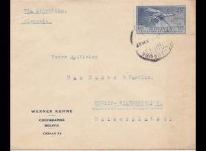 Bolivia/Bolivien: 1927: Cochabamba to Berlin/Germany