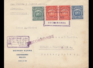 Bolivia/Bolivien: 1926 Registered Cochabamba via Buenos Aires to Berlin/Germany