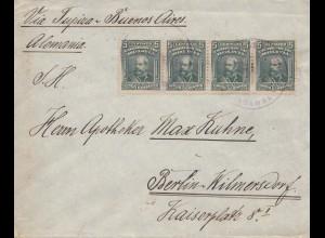 Bolivia/Bolivien: Cochabamba via Buenos Aires to Berlin/Germany 1915