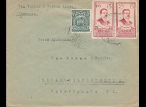 Bolivia/Bolivien: 1926 Cochabamba via Buenos Aires to Berlin/Germany