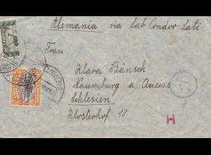Bolivia/Bolivien: La Paz 1940 to Naumburg a/Queiss - Censor