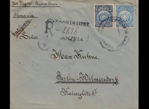 Bolivia/Bolivien: 1918: Registered Cochabamba to Berlin, Censorship