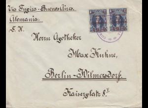 Bolivia/Bolivien: 1912: Cochabamba to Berlin