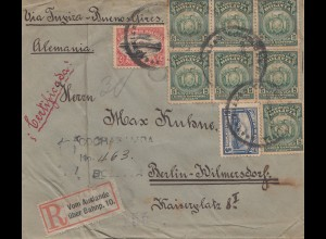 Bolivia/Bolivien: 1920: Registered Cochabamba to Berlin, R-Zettel: Vom Auslande