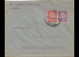Bolivia/Bolivien: 1923 Cochabamba to Berlin/Germany