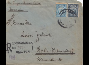 Bolivien: 1920 Cochabamba to Berlin/Germany Registered, censor