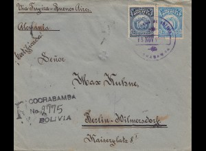 Bolivia/Bolivien: 1920 Cochabamba to Berlin/Germany Registered, censor