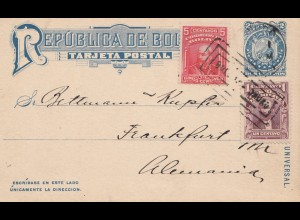 Bolivia/Bolivien: 1909 Post card to Germany