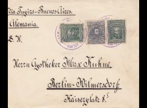 Bolivia/Bolivien: cover Cochabamba via Buenos Aires to Germany 1914