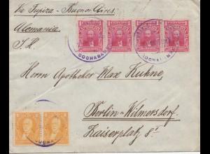 Bolivia/Bolivien: cover Cochabamba via Buenos Aires to Berlin 1913