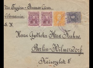 Bolivia/Bolivien 1913: cover from Cochabamba via Buenos Aires to Berlin