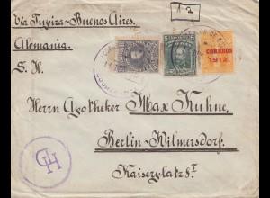 Bolivia/Bolivien: 1912: cover Cochabamba via Tupiza -Buenos Aires to Berlin