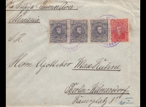 Bolivien: 1915: cover Cochabamba via Tupiza -Buenos Aires to Berlin