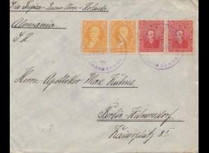 Bolivia 1915: cover Cochabamba via Tupiza -Buenos Aires to Berlin