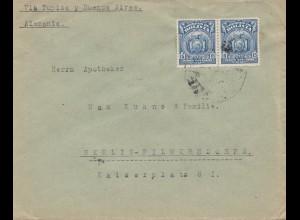 Bolivia/Bolivien: Cochabamba via Tupiza letter via Buenos Aires to Berlin