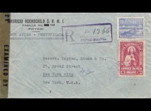 Bolivia/Bolivien: 1943: Potosi, Registered to New York City, Censor
