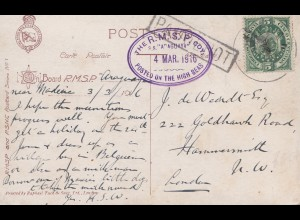 Bolivia/Bolivien: 1916 Post card on board RMSP Araguaya to London