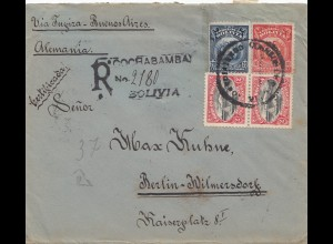 Bolivia/Bolivien: 1920: Registered Cochabamba to Berlin, Censorship
