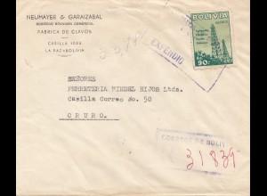 Bolivia/Bolivien: 1955 La Paz to Oruro, registered